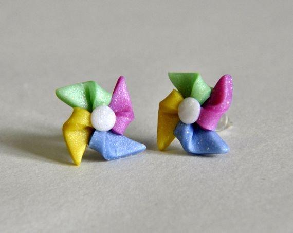 Orecchini Perno Girandole Glitter, Origami in Pasta Sintetica Fimo - Disponibili con Perno in Acciaio o Magneti per Orecchie Non Forate