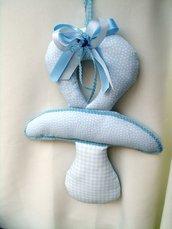 fiocco per annuncio nascita ciuccio in stoffa