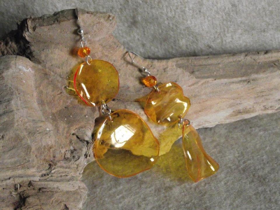 orecchini pendenti finto vetro giallo