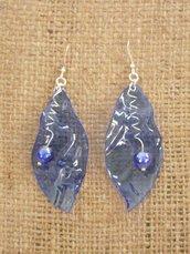 orecchini pendenti finto vetro blu