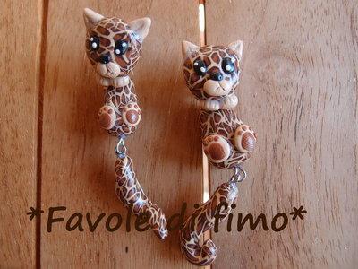 orecchini leopardi penzolanti fimo