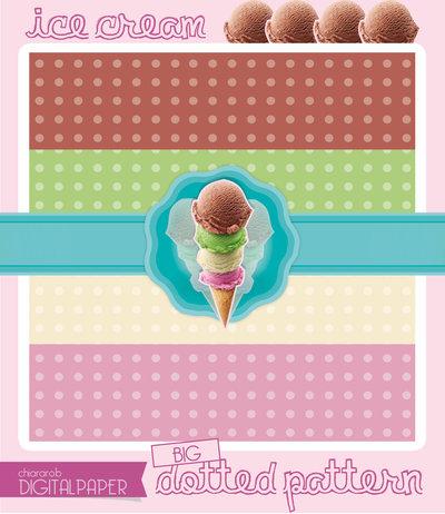 DIGITALPAPER Ice cream colors - big dotted