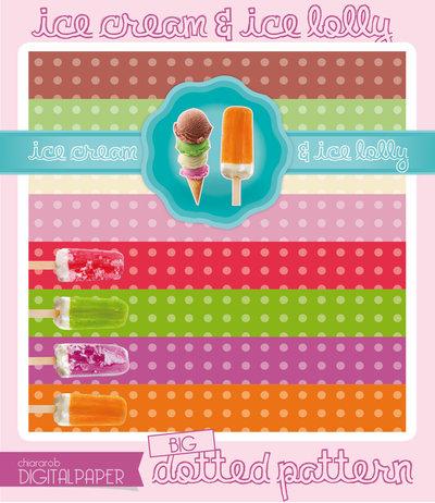 DIGITALPAPER Ice cream & lolly colors - big dotted