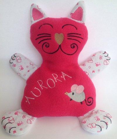 Gattino personalizzato - peluche pupazzo gatto fucsia