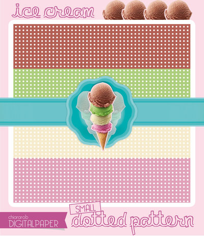 DIGITALPAPER Ice cream colors - small dotted