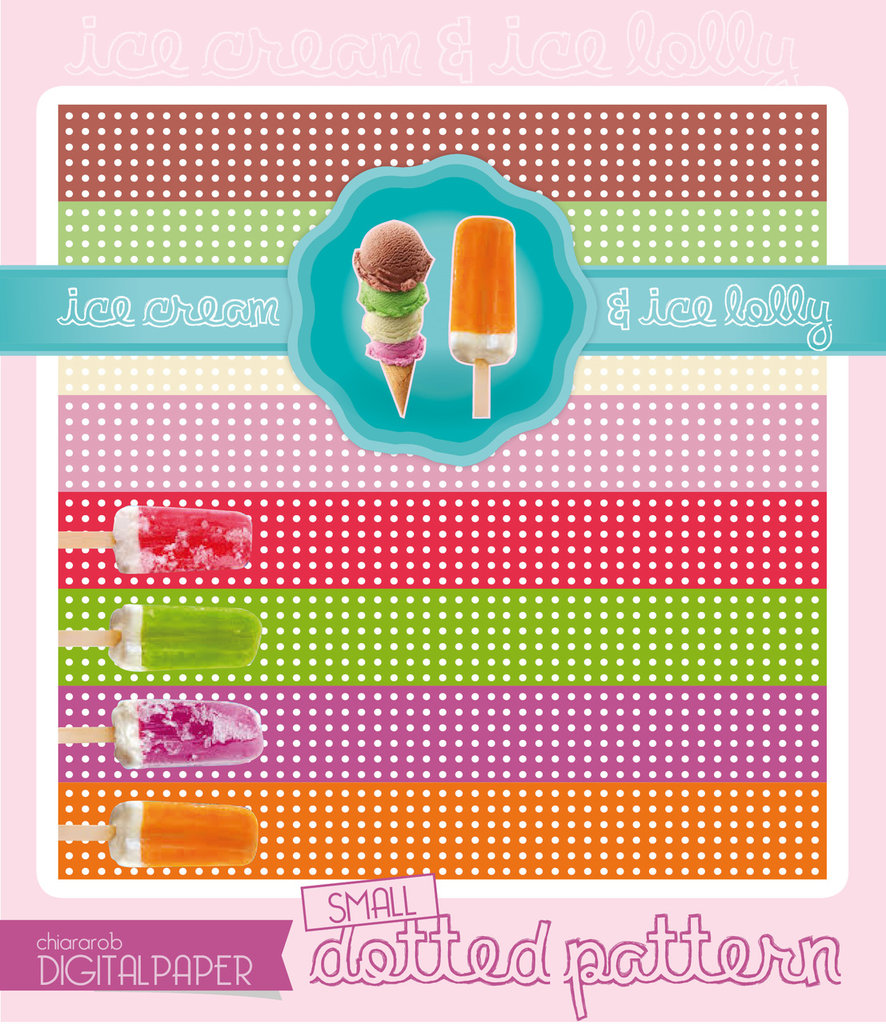DIGITALPAPER Ice cream & lolly colors - small dotted