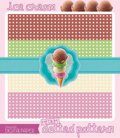 DIGITALPAPER Ice cream colors - medium dotted
