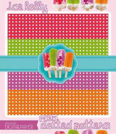 DIGITALPAPER Ice lolly colors - medium dotted