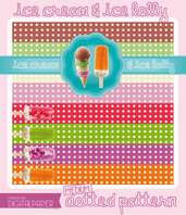 DIGITALPAPER Ice cream & lolly colors - medium dotted