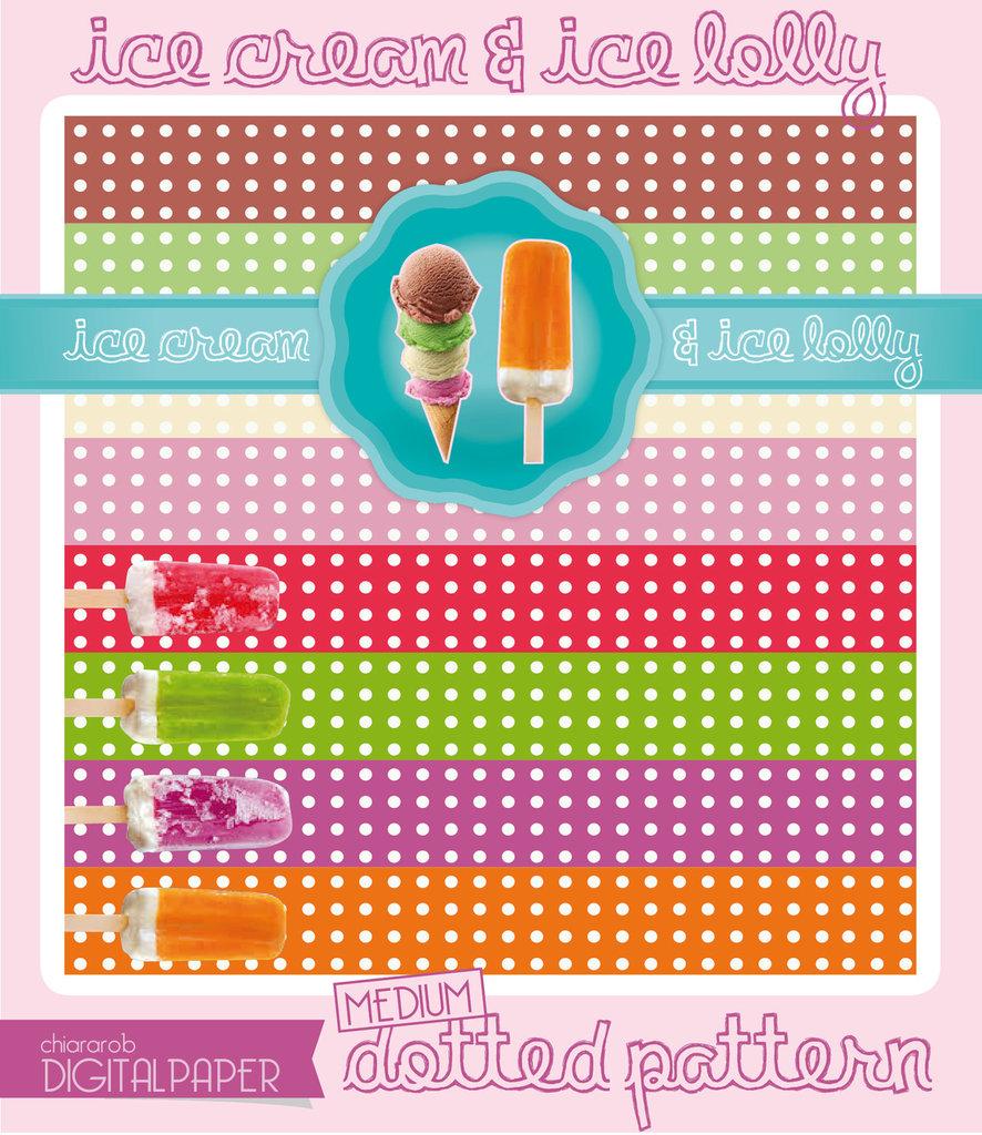 DIGITALPAPER Ice cream & lolly colors - medium dotted
