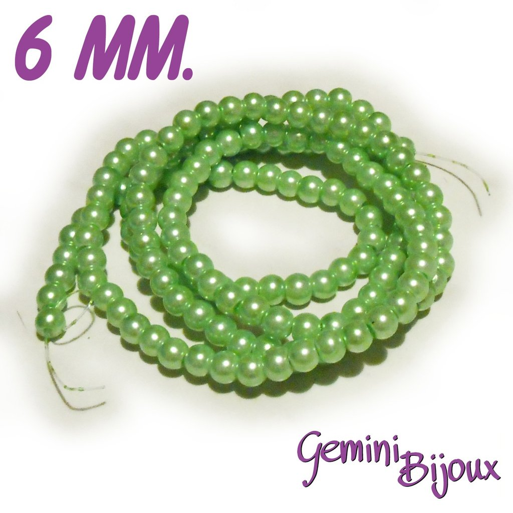 Lotto 20 perle tonde in vetro cerato 6mm verde