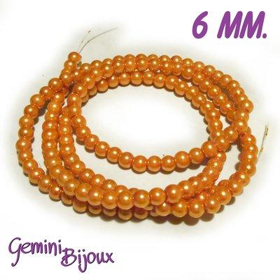 Lotto 20 perle tonde in vetro cerato 6mm arancio
