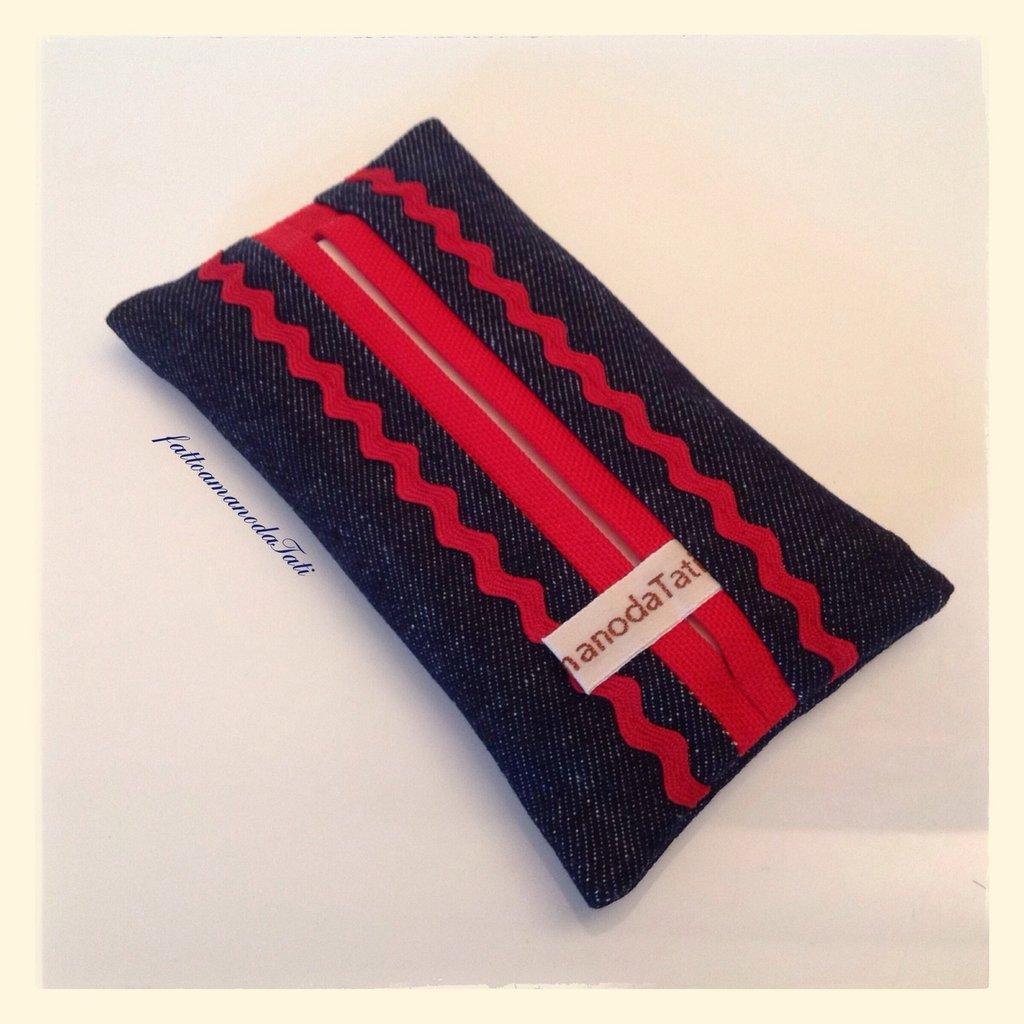 Portafazzoletti da borsa in cotone jeans e rosso