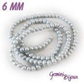 Lotto 20 perle tonde in vetro cerato 6mm light grey
