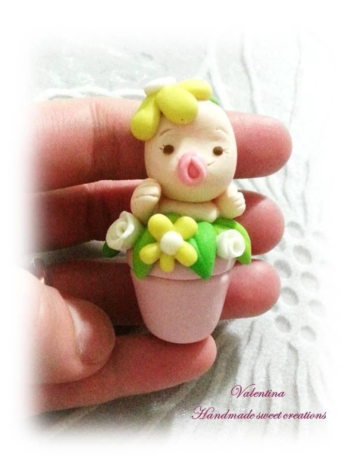 Bomboniera nascita battesimo- bimbo in vaso di fiori