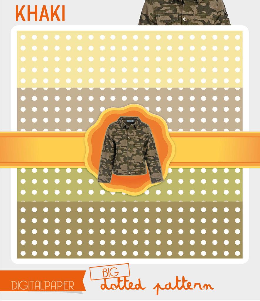 Digital Paper A4 Khaki – big dotted