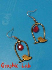 Orecchini personalizzati gabbietta e uccellino in bronzo