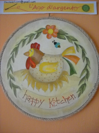 """TAGLIERE ROTONDO A COUNTRY PAINTING """"GALLINA"""""""