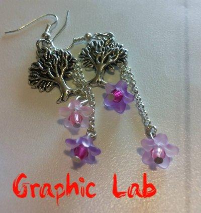 Orecchini personalizzati pendenti con albero e fiori colorati