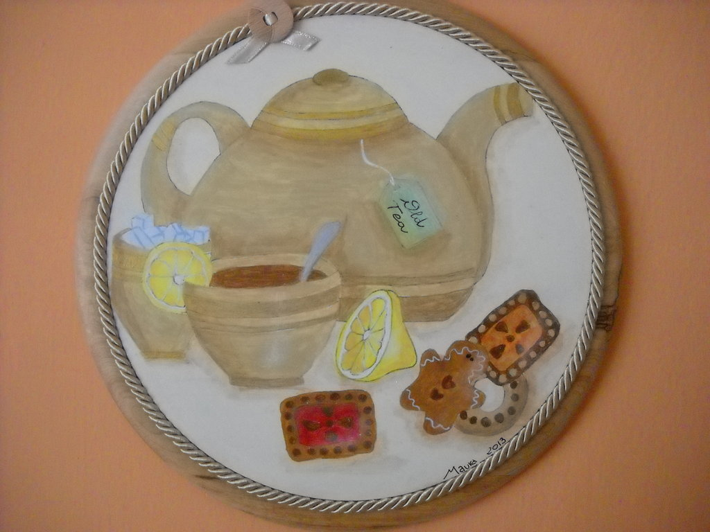 """TAGLIERE ROTONDO A COUNTRY PAINTING """"TEA TIME"""""""