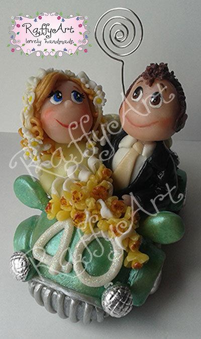 """Cake topper per 40 anni di matrimonio """"Coppia smeraldo"""" (personalizzabile)"""