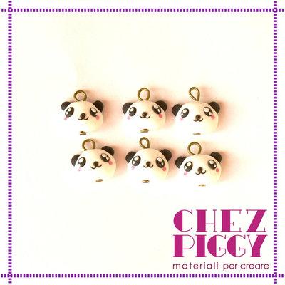 6 x ciondoli di fimo a forma di panda
