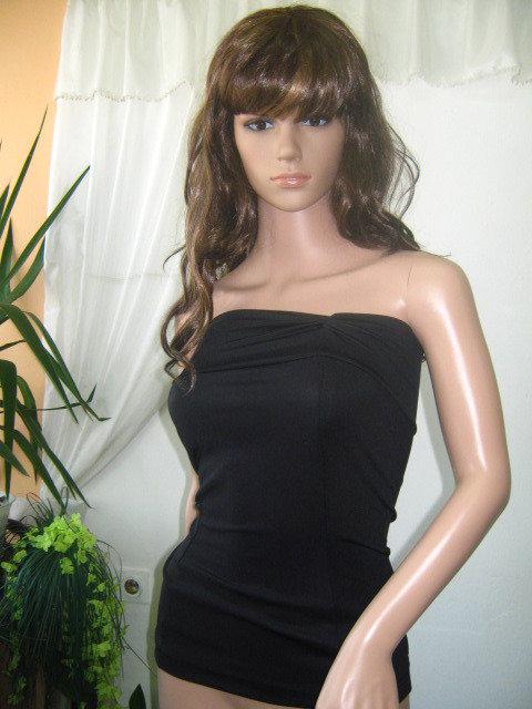 Signore eleganti bustier nero in spandex con cotone