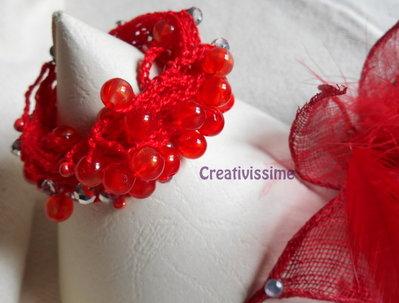 Braccialetto uncinetto e perline fatto a mano rosso