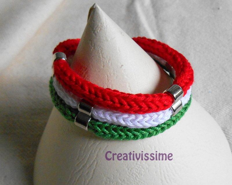 W l'Italia!! braccialetto triccotin italia fatto a mano
