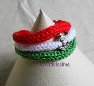 W l'Italia!! braccialetto triccotin italia fatto a mano con ancora
