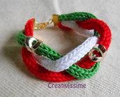 W l'Italia!! braccialetto triccotin a treccia italia fatto a mano