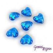 Cuore in vetro foglia argento 20mm blu