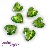Cuore in vetro foglia argento 20mm verde