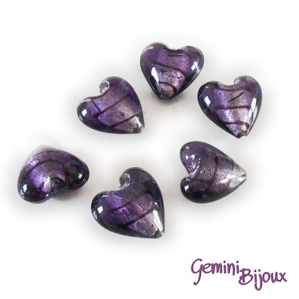 Cuore in vetro foglia argento 20mm purple