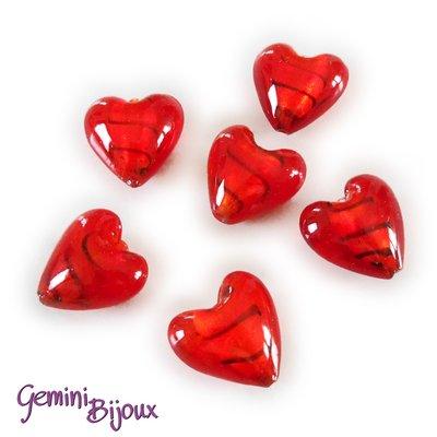 Cuore in vetro foglia argento 20mm rosso