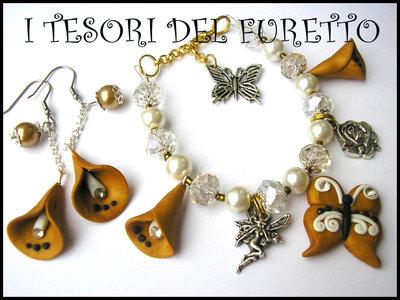 """Parure """"Bracciale Orecchini Oro Calle Farfalla"""" fimo cernit charm primavera estate 2014"""