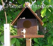 Casetta Nido Rifugio Per uccellini in legno tinta noce