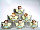 """12 Bomboniere """"FUFUFANGEL azzurro chiarissimo"""" fimo cernit comunione cresima battesimo"""