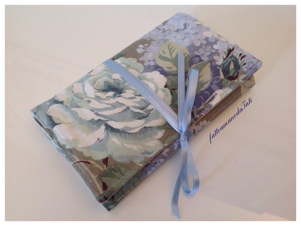 Portagioielli da viaggio in cotone a fiori sui toni azzurro/verde