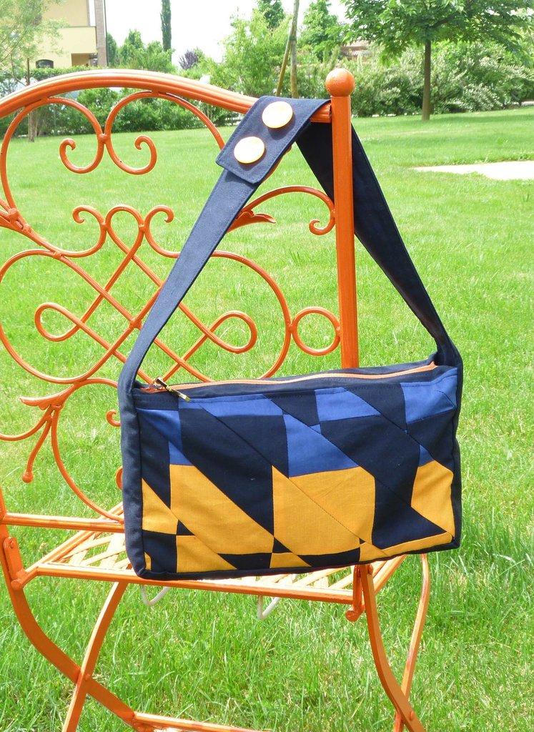 borsetta patchwork blu-arancione