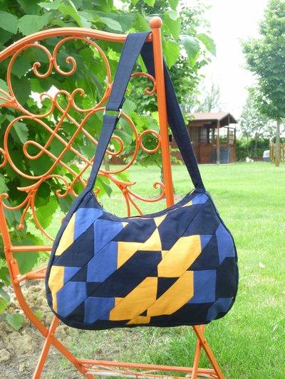 borsa patchwork blu-arancione