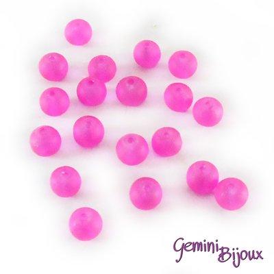 Lotto 20 Perle tonde Frosted effetto ghiaccio 6mm fuxia