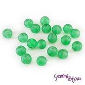 Lotto 20 Perle tonde Frosted effetto ghiaccio 6mm green