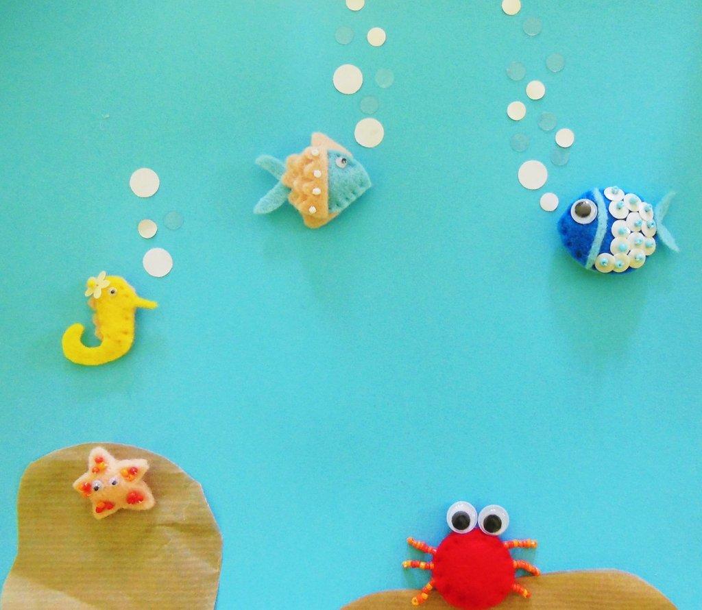 Miniature in feltro 'Mare' : le spille per decorare le bomboniere o gli accessori della tua bambina