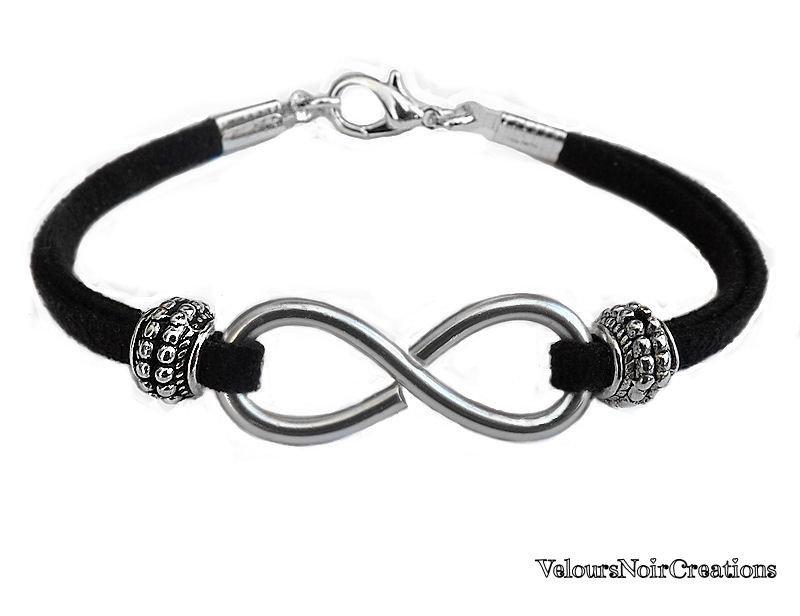 Bracciale simbolo infinito in metallo tecnica wire laccio suede nero
