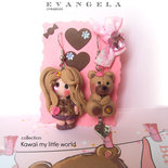 Orecchini doll bambola lalla in fimo con orsetto di pezza kawaii ooak idea regalo bambina ragazza  handmade