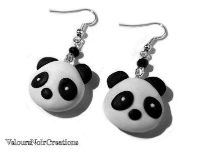 Orecchini con panda kawaii creati a mano in fimo