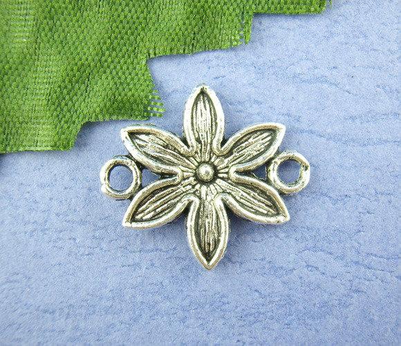 6x intermezzo fiore con asoline argento antico