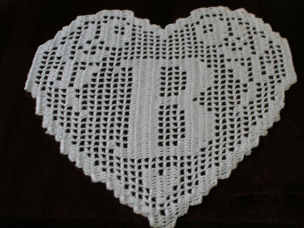 "Connu PATTERN crochet filet schema lettera ""B"" MONOGRAMMA a cuore fatto  PM87"