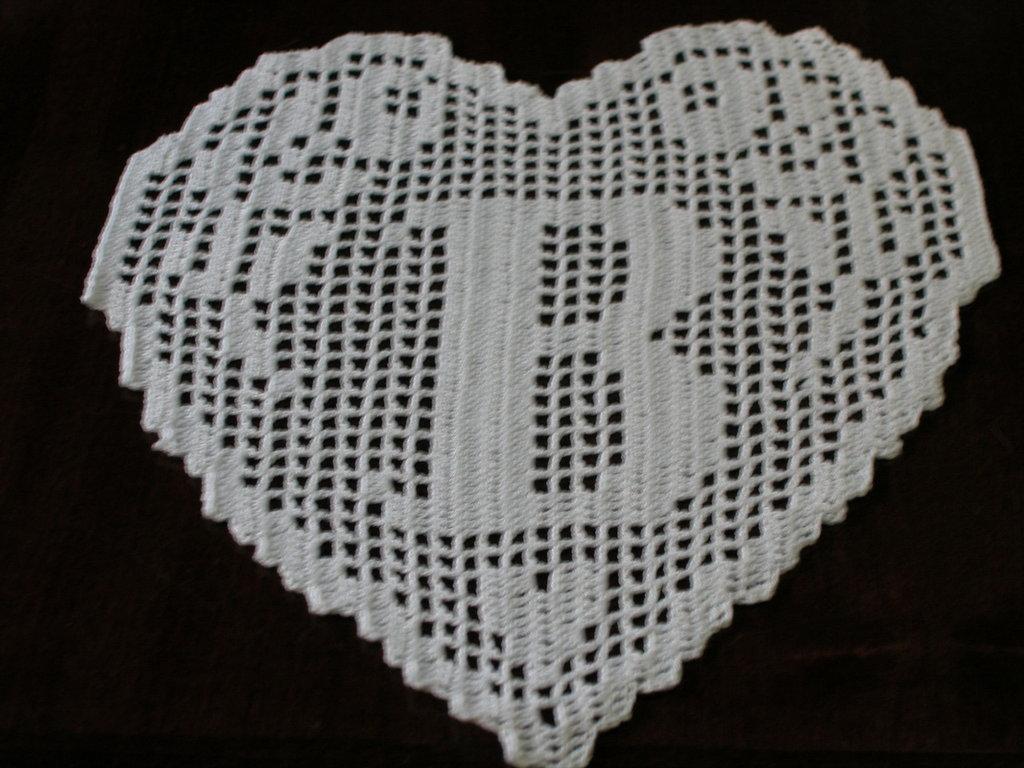 Pattern Crochet Filet Schema Lettera B Monogramma A Cuore Fatto A